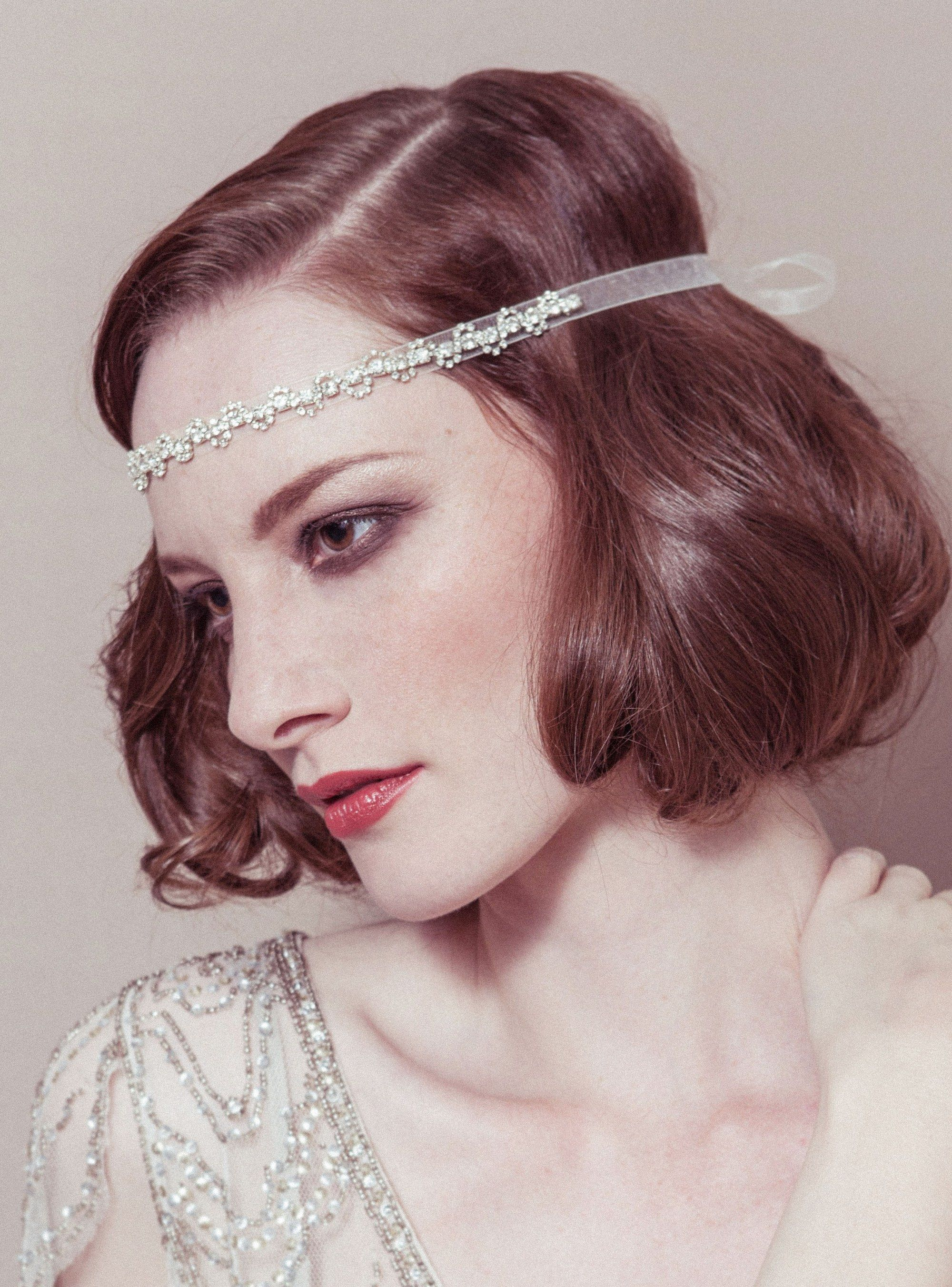 greta diamante decor forehead band ribbon headband with
