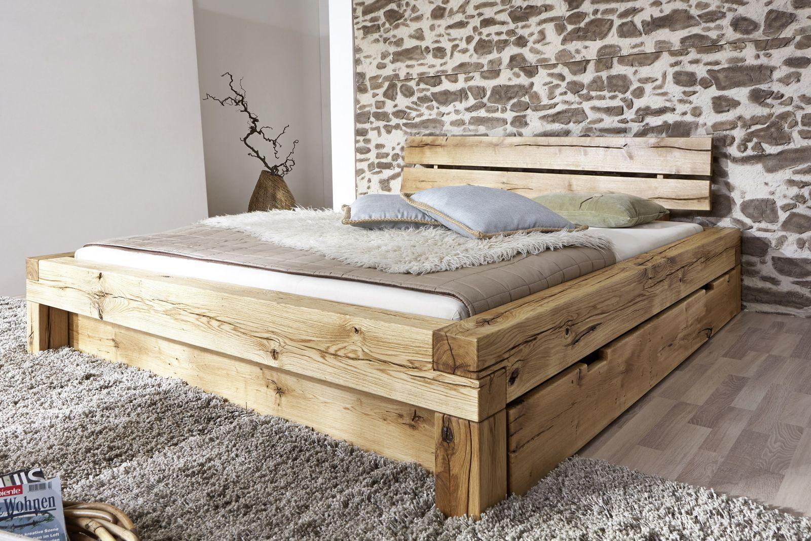 SAM® Balkenbett 160x200 Massivholzbett mit Bettkasten
