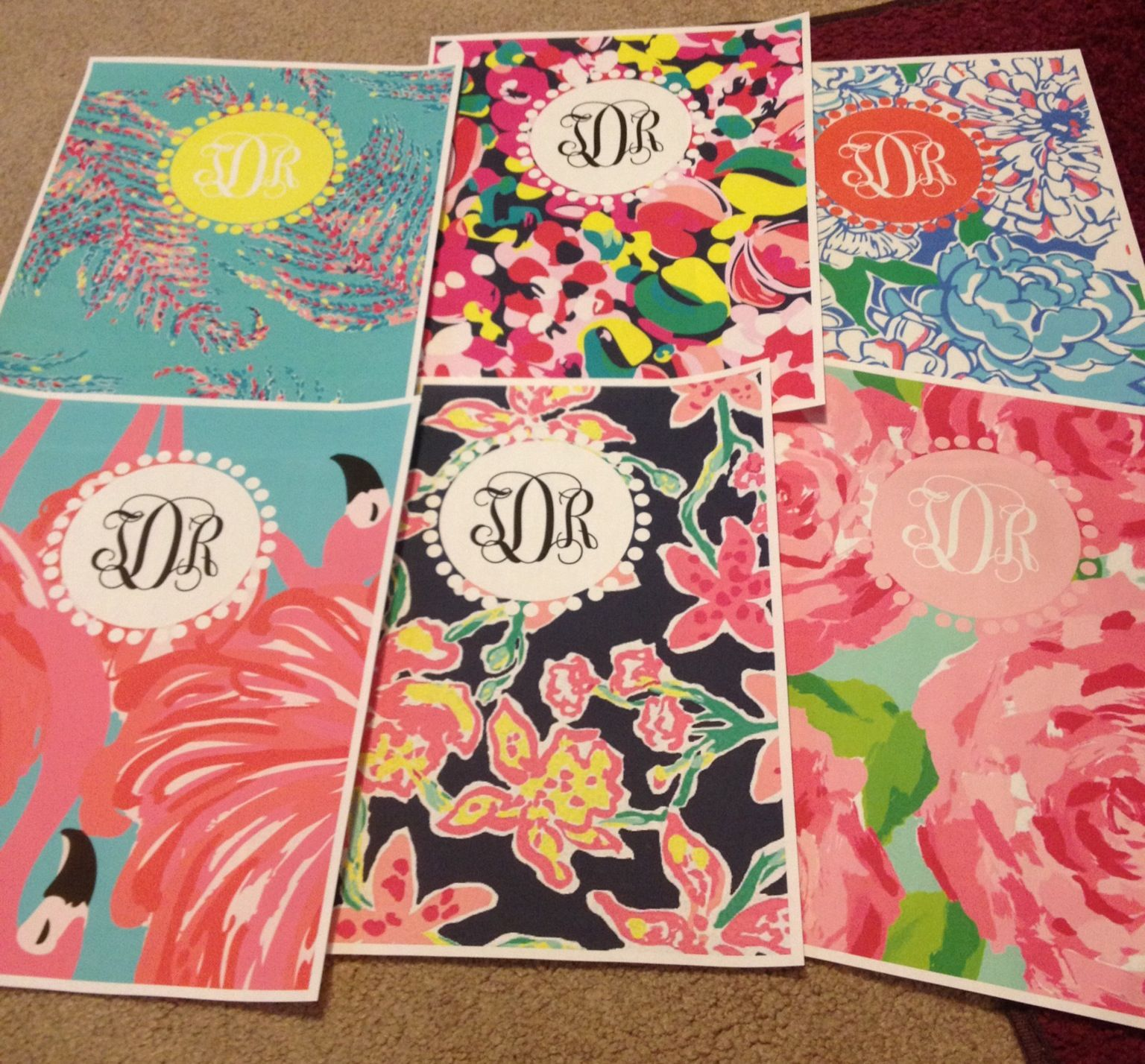 Lilly Patterned Monogrammed Binder Covers! Perfect Time