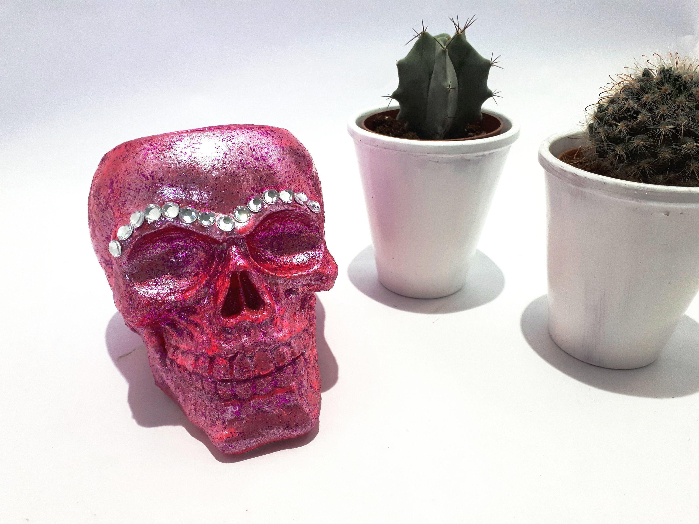 Red Glitter Skull pot, Make up brush holder skull, skull