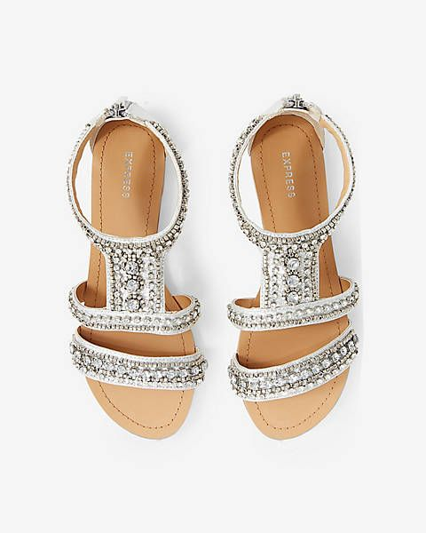 cee4b0fc58114 Rhinestone Embellished Metallic Sandal from EXPRESS