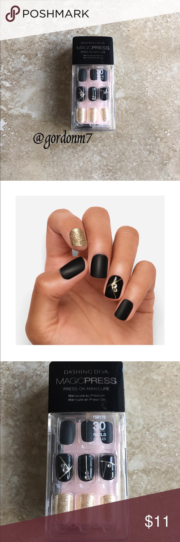 New Dashing Diva Press On Nails In Gold Standard Lines On Nails Press On Nails Gel Color