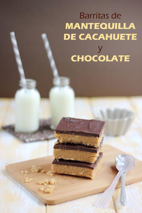 Barritas rápidas de mantequilla de cacahuete y chocolate