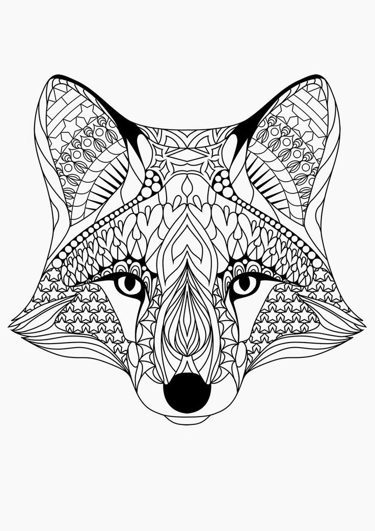 ☮ american hippie art  coloring pages  fox