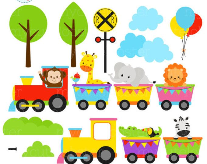 Wild Animals Train Digital Clipart Train Clipart Clip Art Animal Clipart