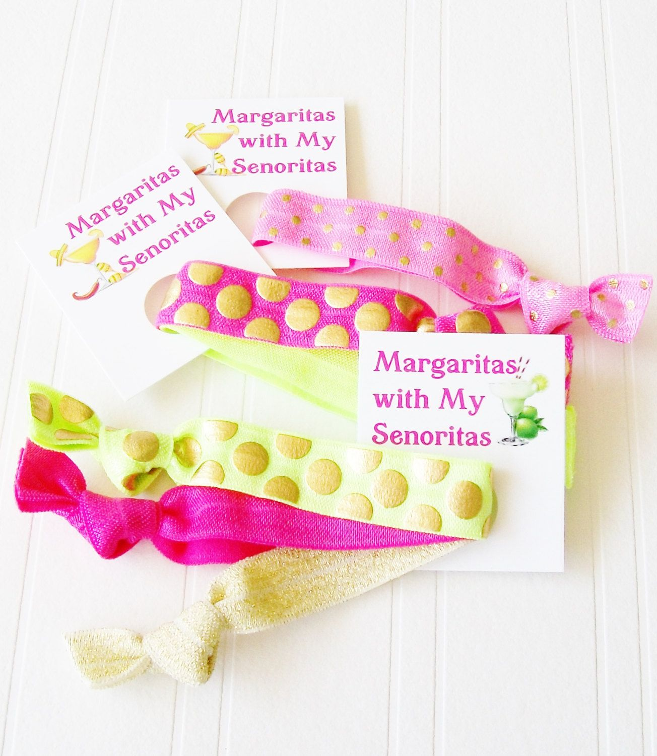 Margaritas with my Senoritas, Hair Ties and Gift Tag, Margarita Hair Don't Care  Party Favor Beach Bachelorette 21st Birthday Hangover Kit by LuckyGirlHairTies on Etsy