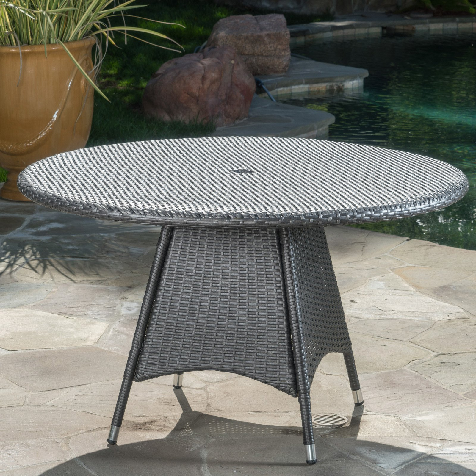 Outdoor Corsica Wicker Round Patio Dining Table Patio Dining Set