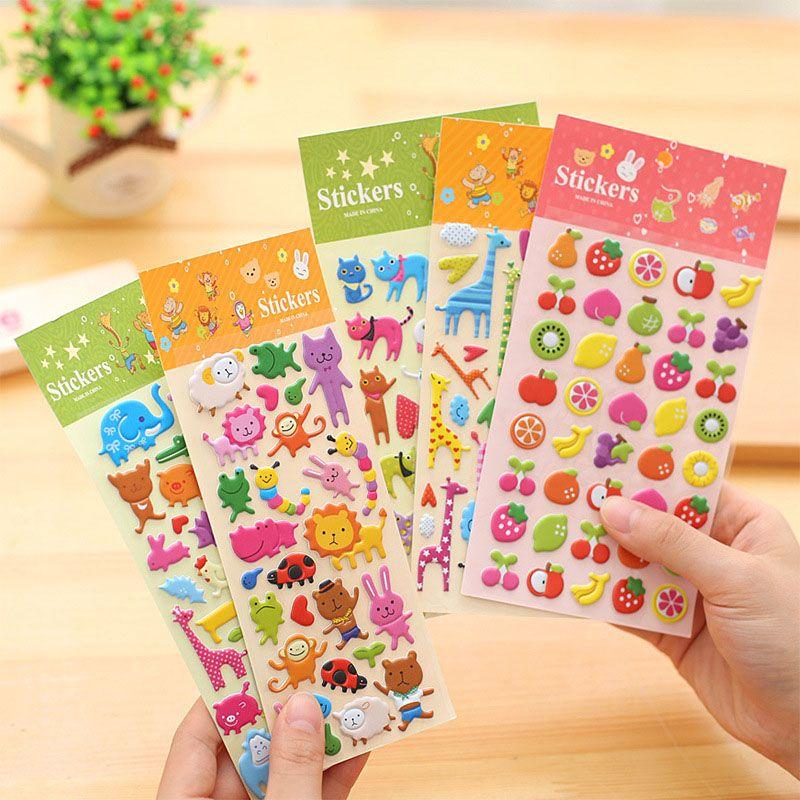 5 Sheets Cute Cartoon Fruits Scrapbooking Bubble Puffy Stickers Reward Kids·T AL