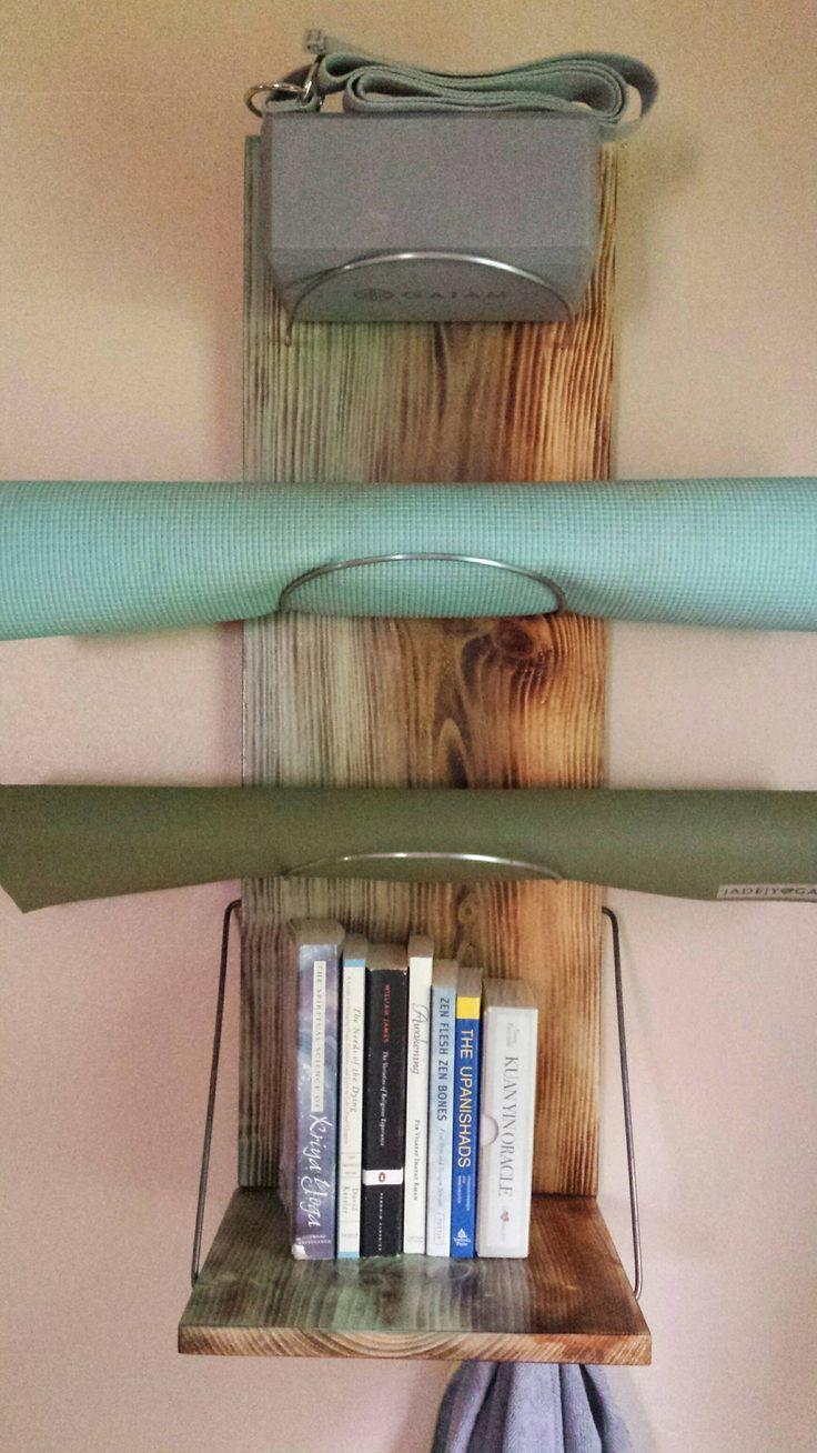 Yoga Mat Storage Shelf Reinforced steel rod holes heavier