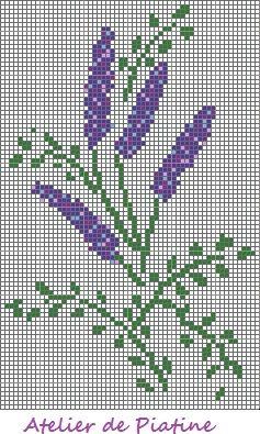 Grille broderie brins de lavande point de croix - Broderie point de croix grilles gratuites fleurs ...
