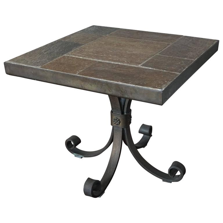 Unique Brutalist End Or Coffee Table With Slate Stone Top And