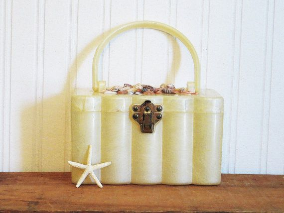 Moonglow Lucite Purse with Shells Decorated Pearlized Yellow Beach Resort 1950s