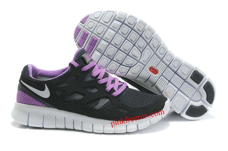 0fb4e082a497 Black White Anthracite Bright Violet Nike Free Run 2 Women s Running Shoes