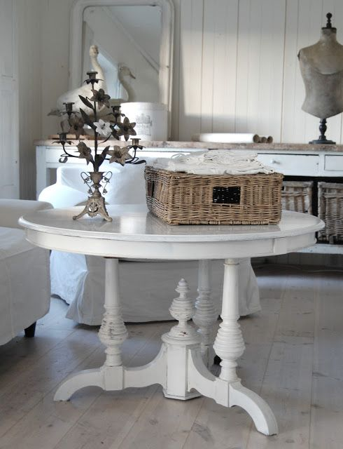 Living room  Whitewashed Shabby chic French country rustic Swedish decor idea