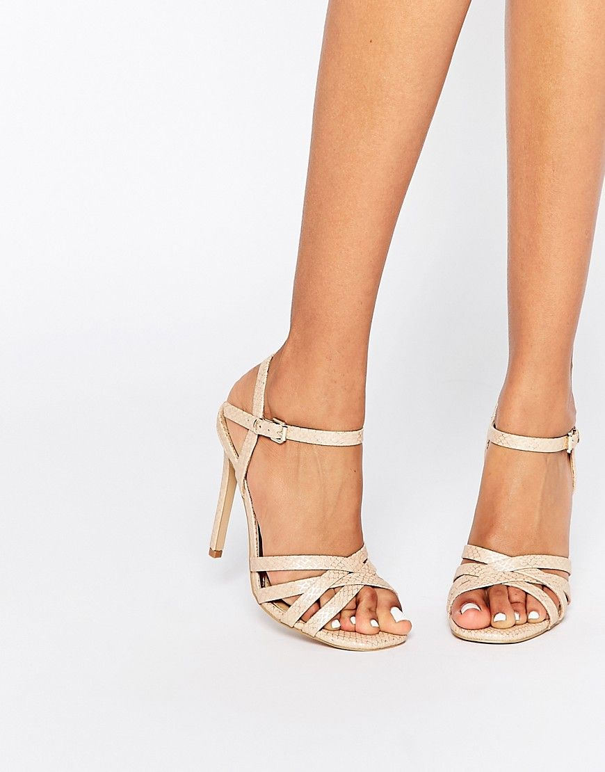 4d4a12aa9c45 Head over Heels By Dune Melaniey Nude Snake Effect Heeled Sandals - Be