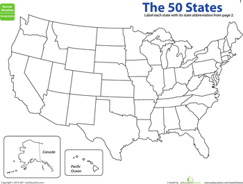 Map The States State Abbreviations Worksheets States And - Map of usa with abbreviations
