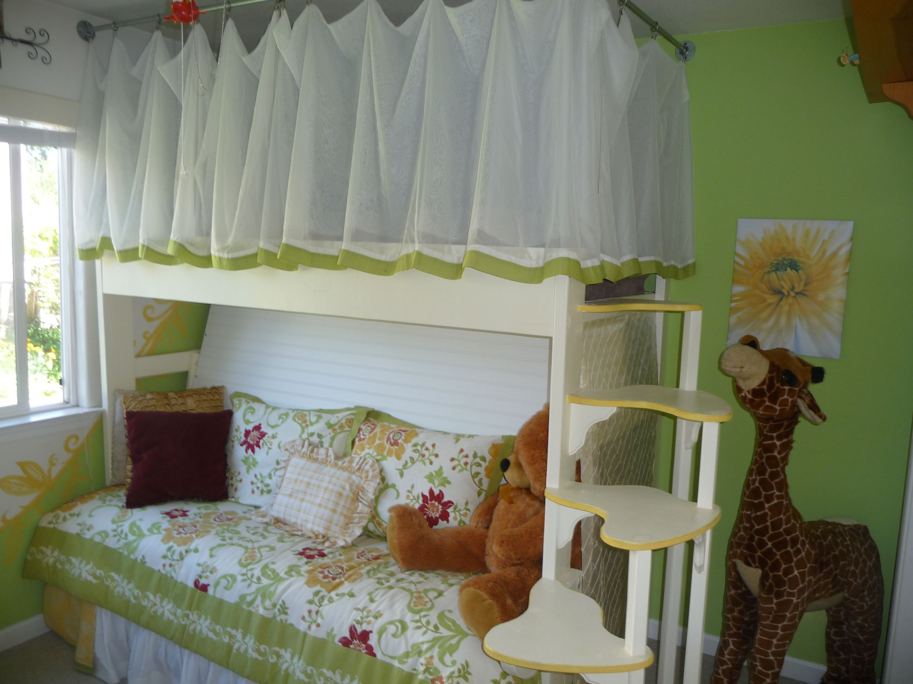 Loft bedroom in garage  Curtained Loft Bed and Couch Designed by my husband and son for my