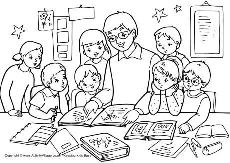 Teacher And Children Colouring Page School Coloring Pages Kids