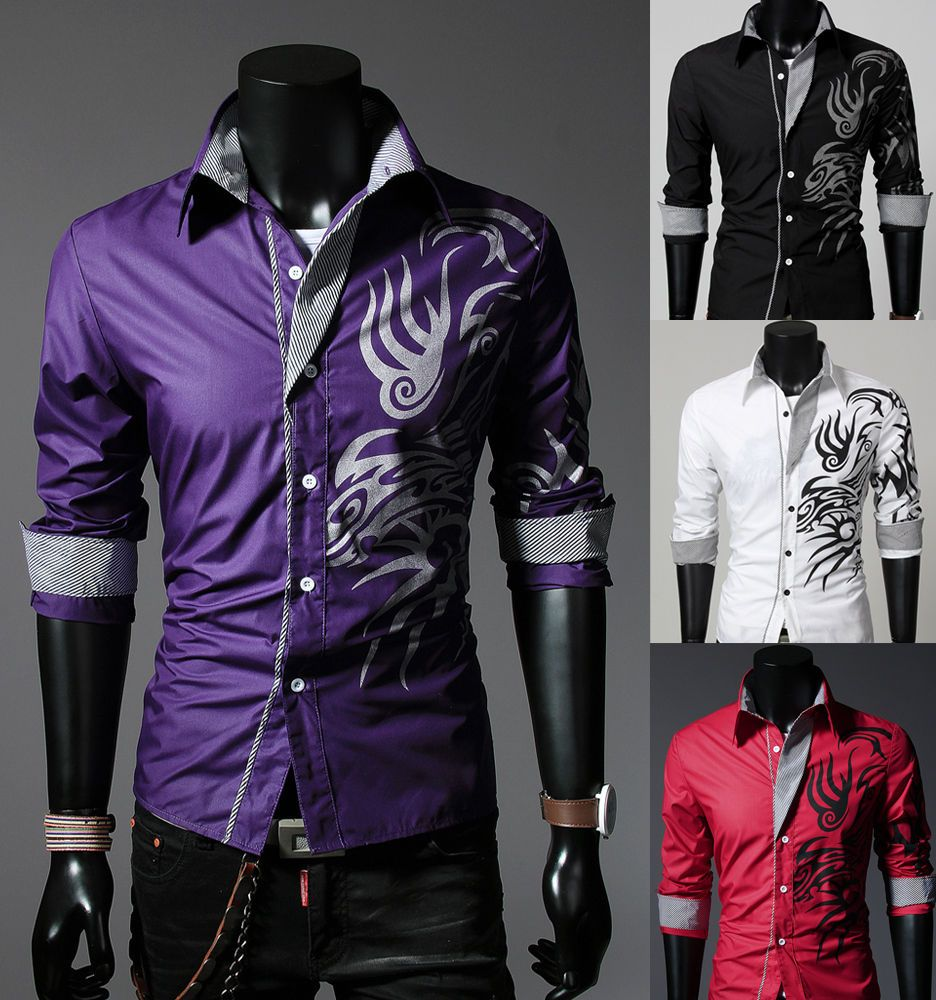 New mens fashion luxury casual slim fit stylish long for Men s fashion casual t shirts