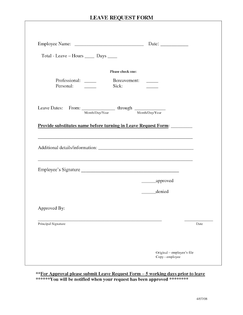 Employee Day Off Request Form Template  Employee Time Off Request