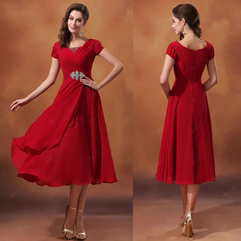 Red Short Sleeve Tea Length Scoop Neck Beaded Chiffon Modest ...