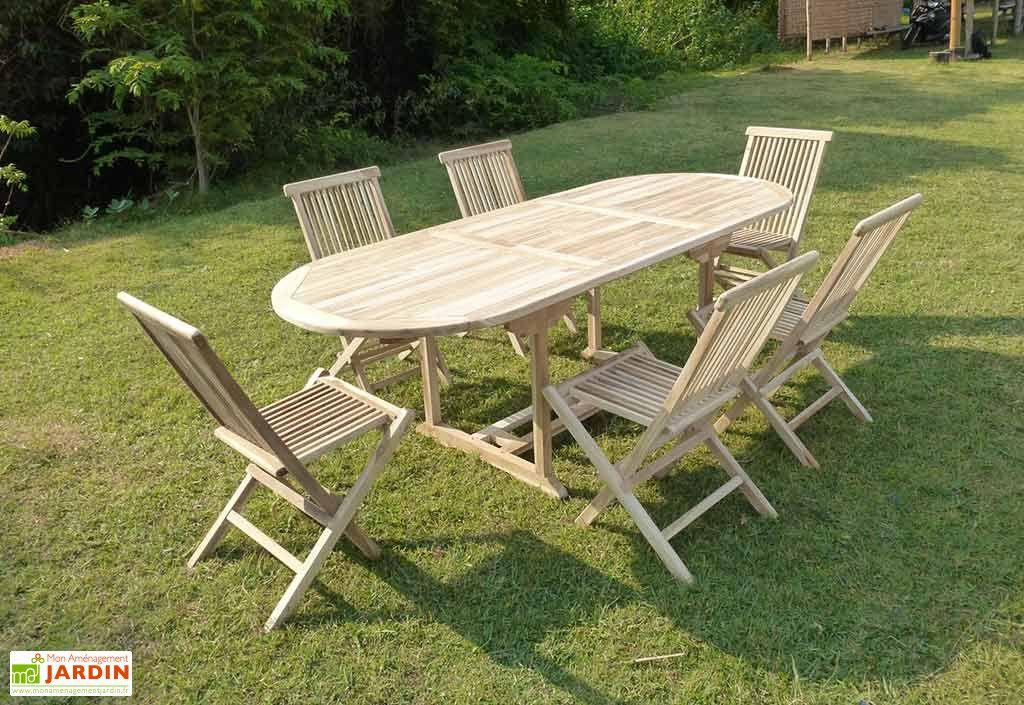 Salon de Jardin Bois Teck Table Extensible Ovale 170 cm + 6 ...