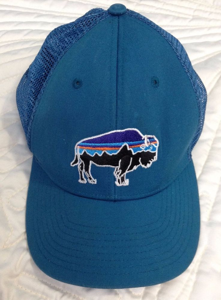 Rare Patagonia LoPro Fitz Roy Bison Organic Trucker Hat Snapback Buffalo OS  Blue  220f2c85dffa
