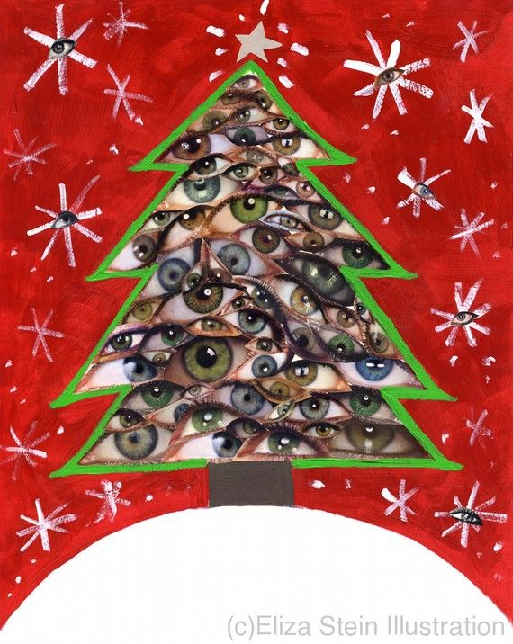 Christmas Tree Collage Card, 5x7 Blank Xmas Greeting Card, Weird