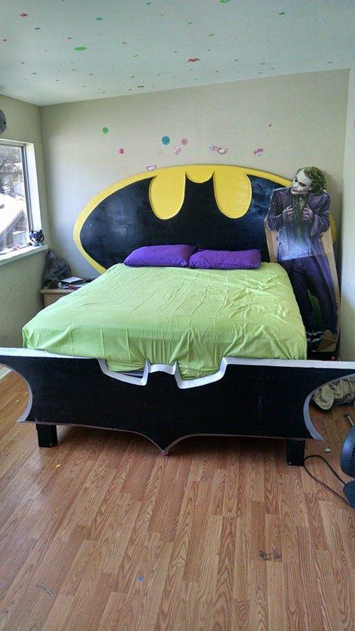 Homemade Batman Bedframe Batman Themed Bedroom Batman Room Batman Bedroom