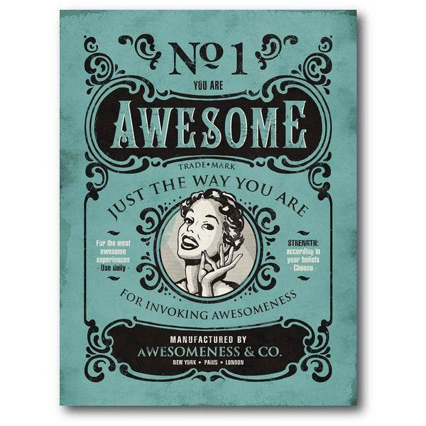 'Awesome' Vintage Canvas Wall Art ❤ liked on Polyvore featuring home, home decor, wall art, canvas home decor, canvas wall art, vintage home decor, vintage wall art and vintage home accessories