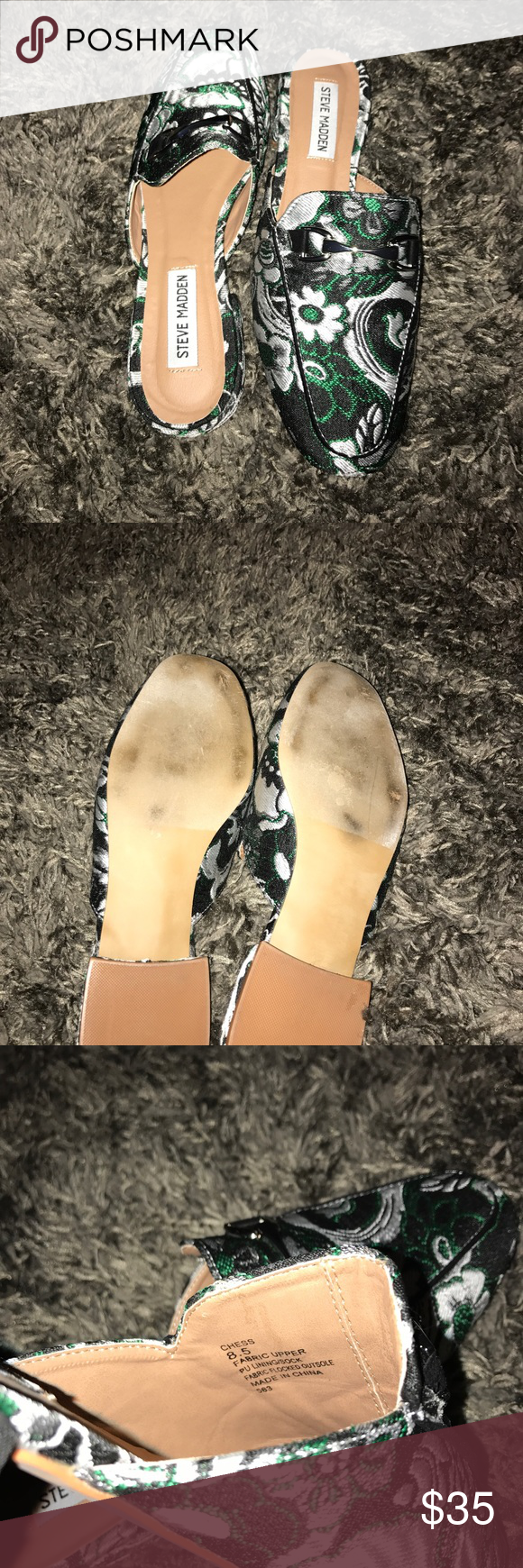 """Steve Madden Chess Mule DESCRIPTION  For a classic look that will make a statement, the brocade Chess mule from Steve Madden is a perfect pick. This jacquard slip-on flat will add some fun to any outfit!   Item # 391000 UPC # 661812502214 FEATURES  Floral jacquard canvas fabric upper Decorative metal bit detail Square toe ¾"""" covered block heel Synthetic sole Imported Steve Madden Shoes Mules & Clogs"""