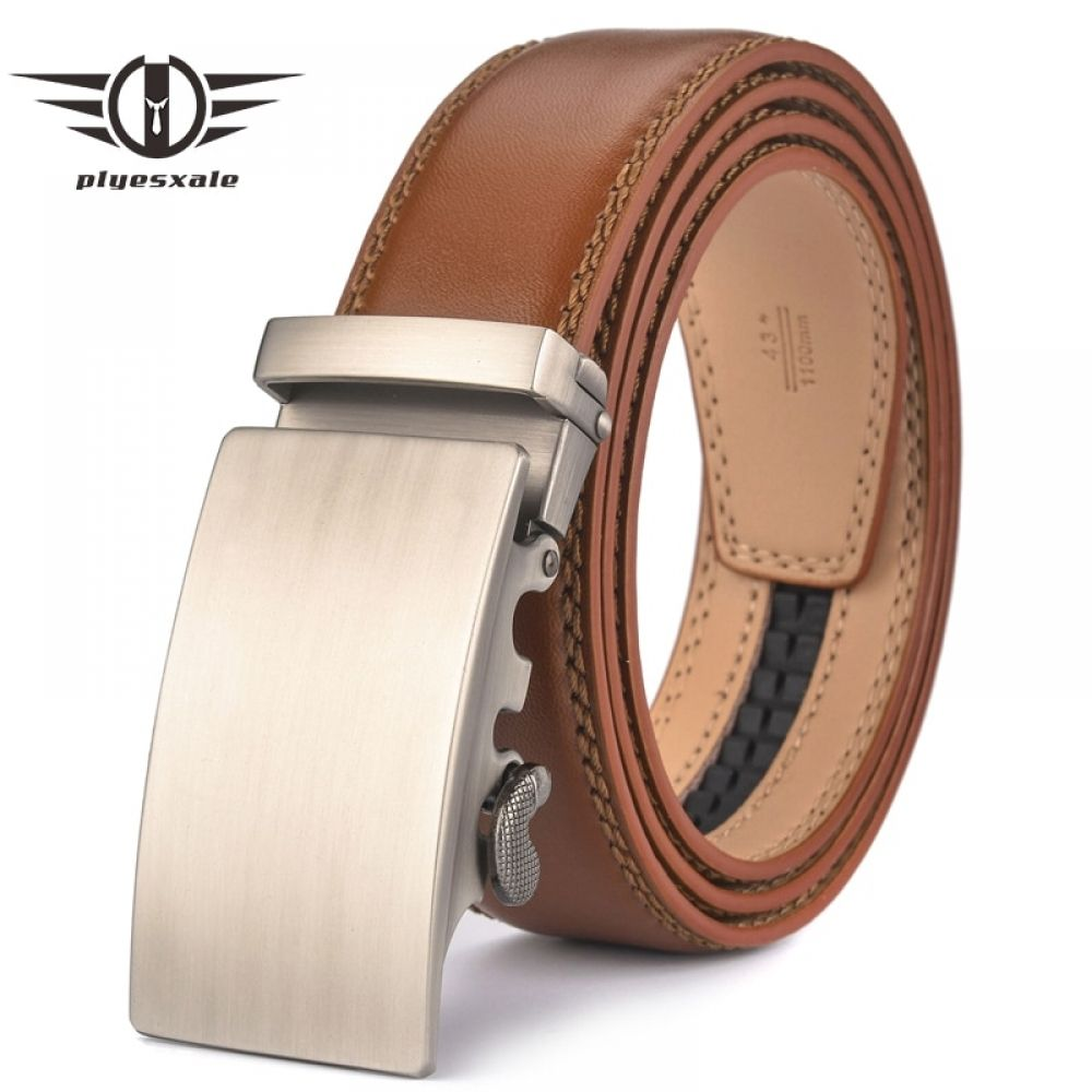 Brown Leather Automatic Buckle Vintage Style Belt