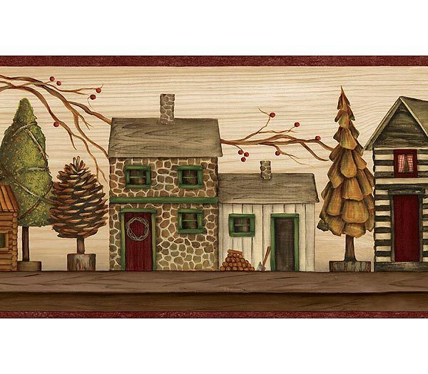 Interior Place Burgundy And Beige Lodge Houses Wallpaper Border