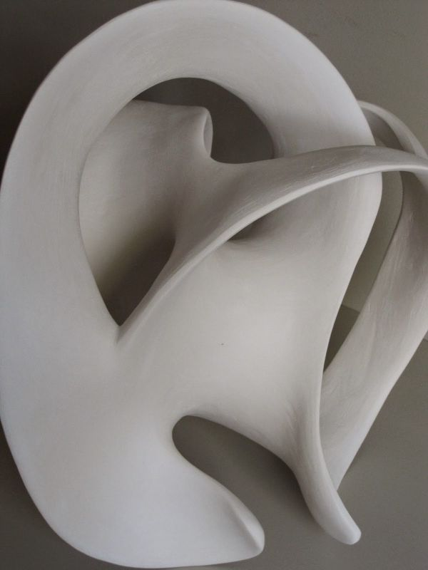 Fired Clay Sculpture By Sculptor Rosemarie Powell Titled White Clay Abstract Form 1 Indoor White Ceramic Con Abstract Sculpture Sculpture Clay Sculpture