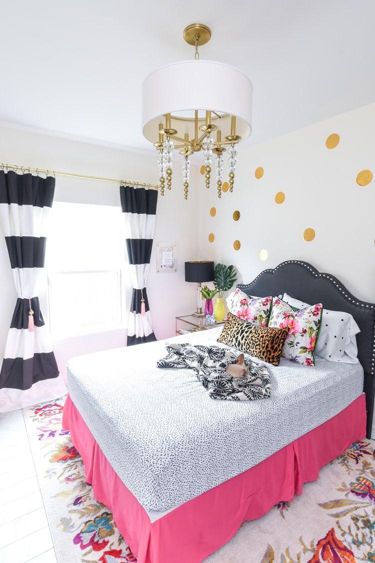 Guest Bedroom Decor Room Reveal Monica Wants It Guest Bedroom Decor Hot Pink Bedrooms Striped Bedroom