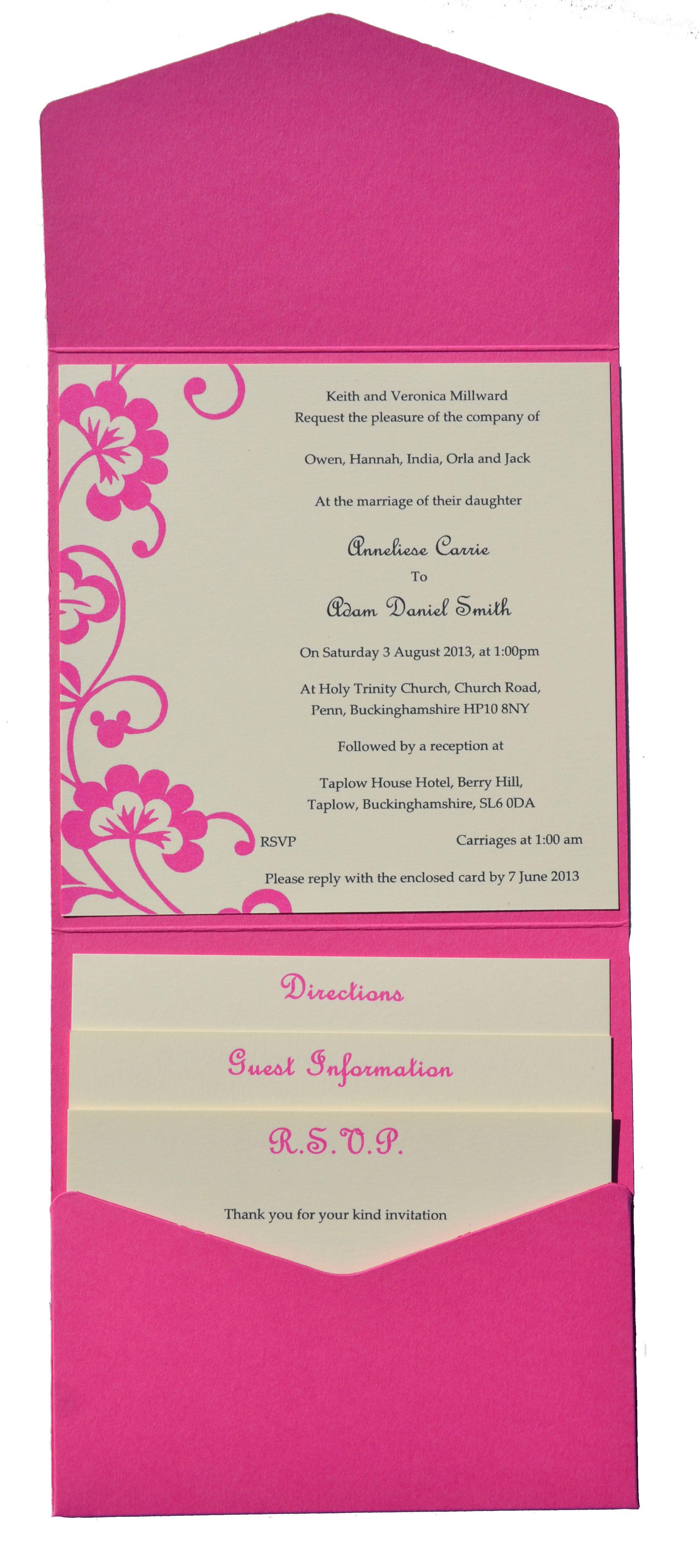 Fuchsia pink swirl pocket invitation www.sew-unique.co.uk | Card ...