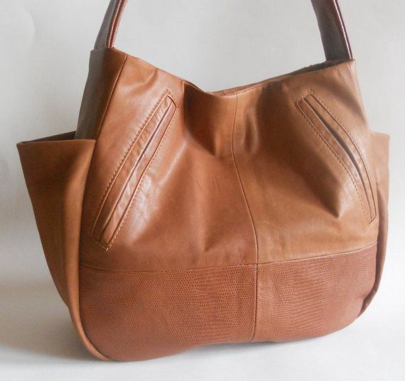 Leather Purse Recycled Shoulder Sac Saddle Brown W Side Pockets