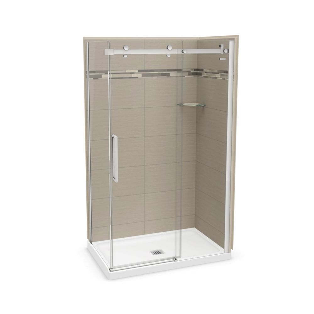 Utile 48 Inch X 32 Inch Origin Greige Corner Shower Kit With