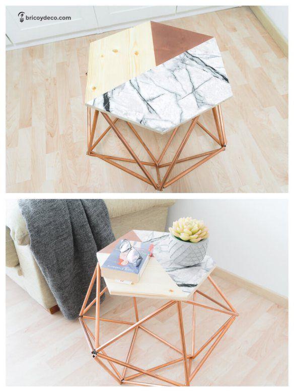 muebles DIY para terraza mesa con tubos de cobre Deco cuarto - muebles diy