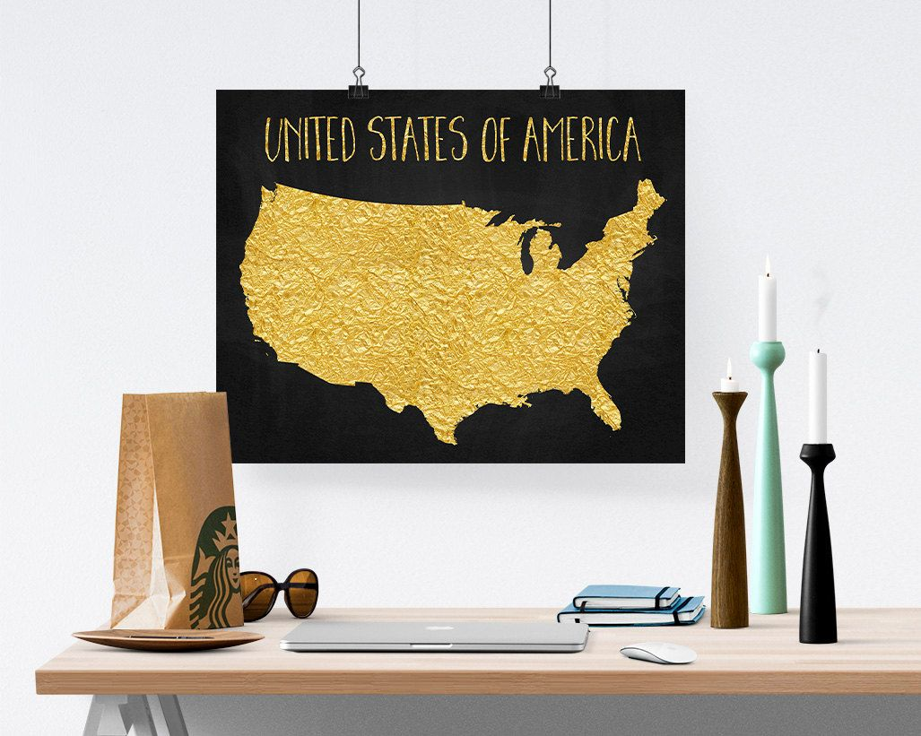 United States Map, America Poster, USA Printable Map Gold Foil Print ...