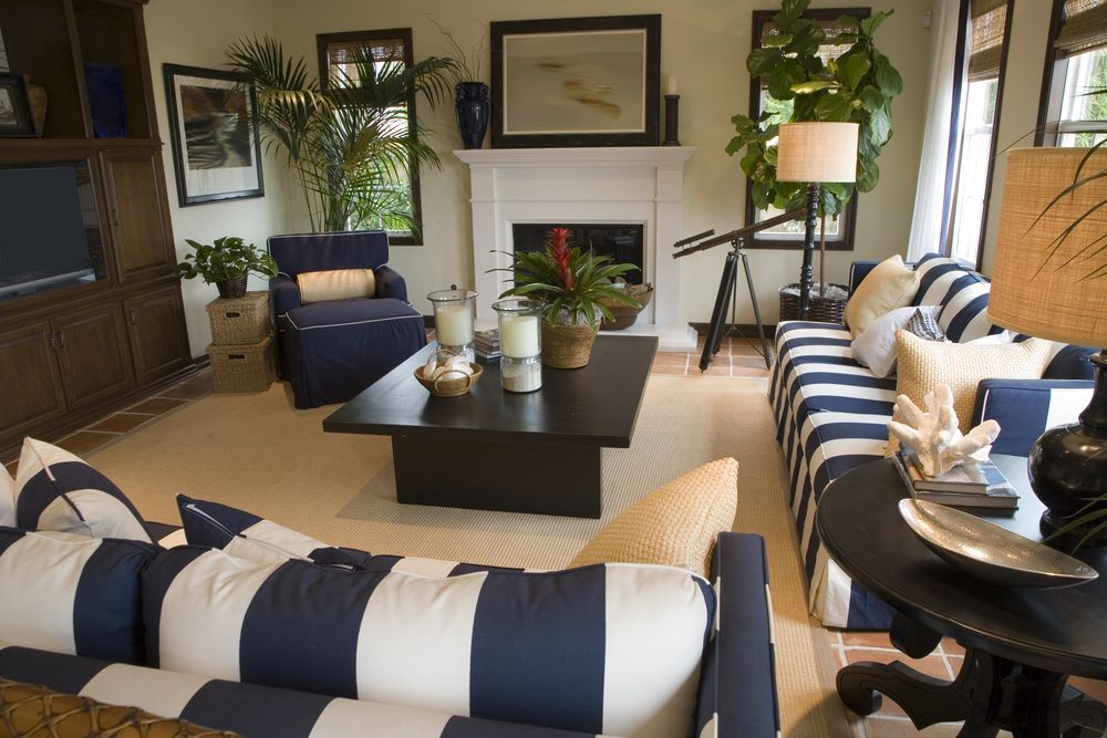 Large family and living room combo room with two white and blue
