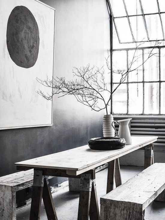 ? Dove Gray Home Decor ?  rustic modern industrial dining room