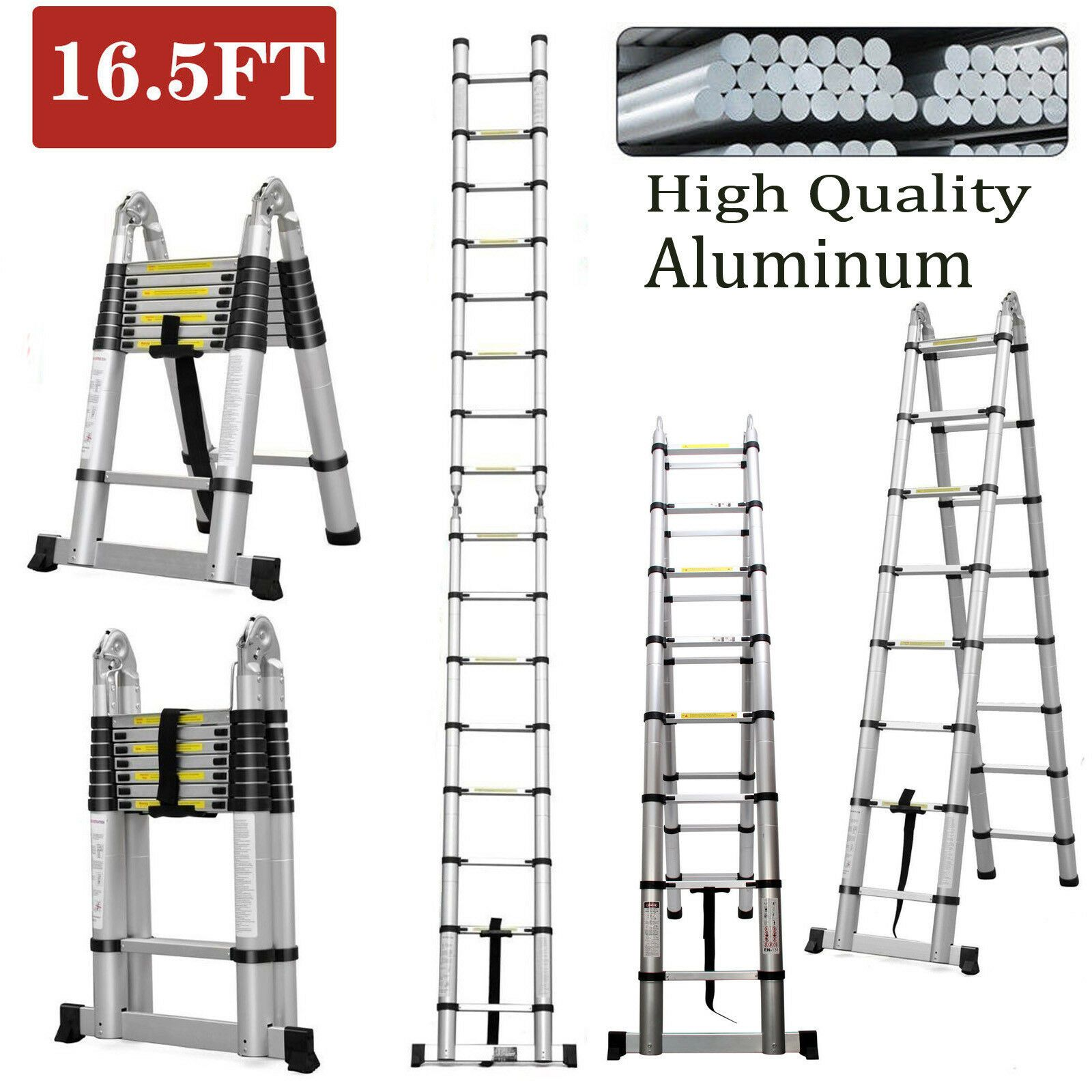 Heavy Duty 16 5 Feet 5m Aluminum Telescopic Extension Step Ladder Multi Purpose Ladder Decor Ladderdecor In 2020 Step Ladders Folding Ladder Telescopic Ladder