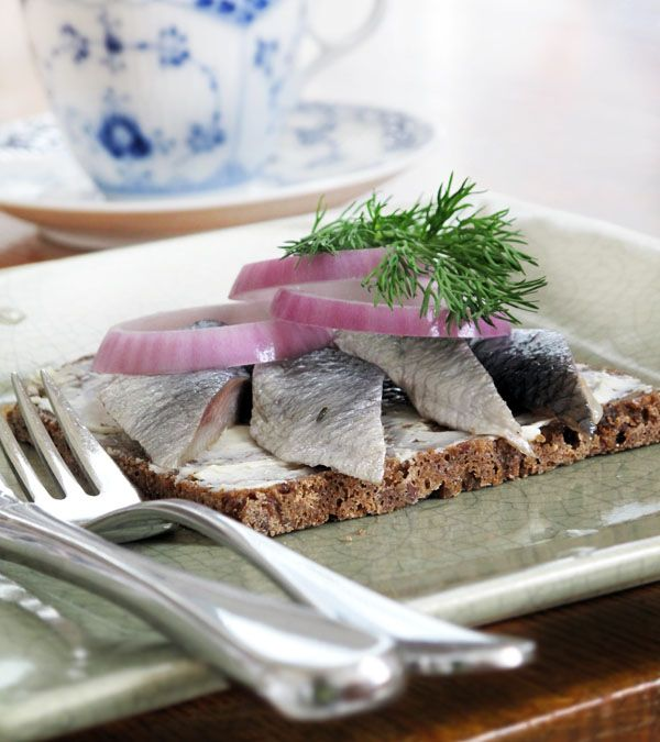 Danish Open Sandwiches Smorrebrod Pickled Herring With Danish Rye Bread Danish Rye Bread Scandinavian Food Norwegian Food