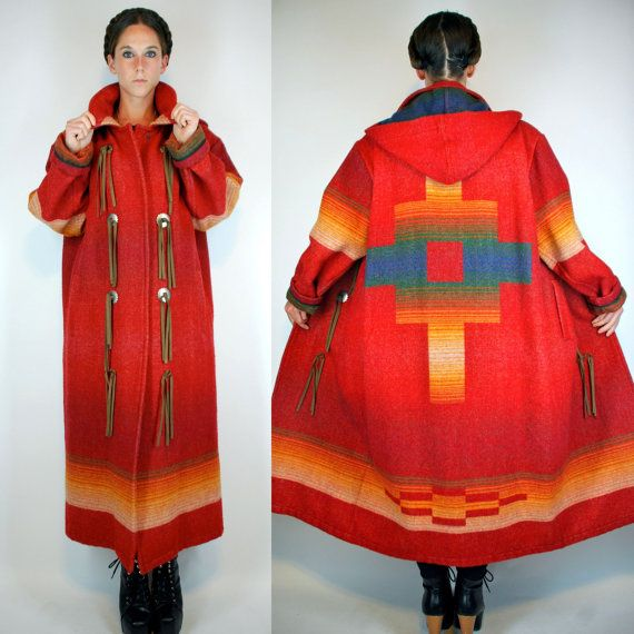 Long Fringe Dress Suede Woolrich Southwestern Indian Blanket Maxi Coat Bohemian
