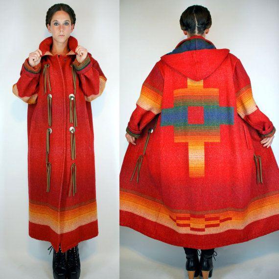 WOOLRICH Southwestern Indian Blanket Maxi Coat. Bohemian Duster Jacket Long  Dress Parka. Hooded boho