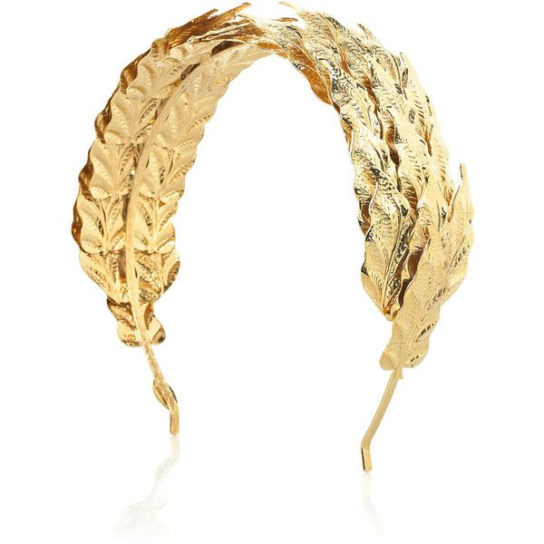Caesar gold leaf hairband ($162) ❤ liked on Polyvore featuring accessories, hair accessories, jewelry, headbands, hair, gold hair accessories, louis mariette, gold leaves headband, hair band headband and leaves headband