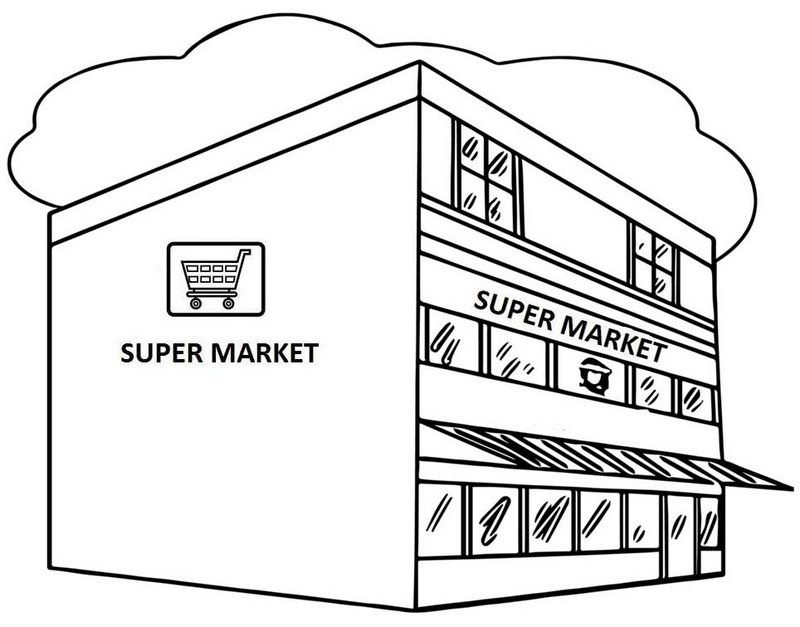 Great Supermarket Coloring Page Supermarket Coloring Pages Coloring Pages For Kids