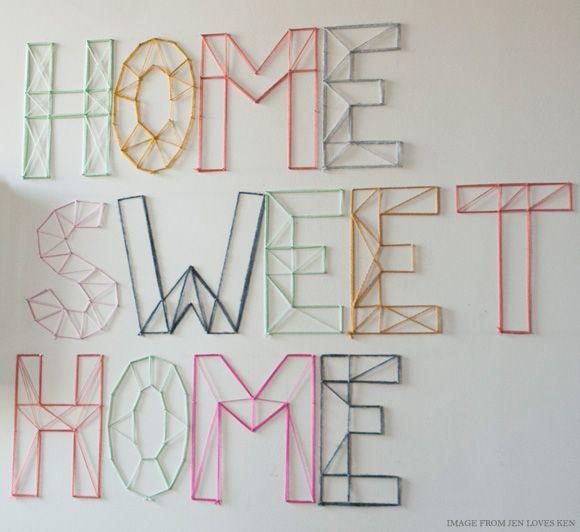 DIY Nail and Yarn Wall Art [Jen Loves Ken via Creature Comforts ...