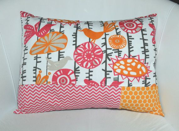 Child's colorful bird Pillow Cover / Cushion by TextileTrolley, $25.00